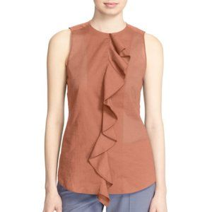 Theory Jastrid Ruffle-Front Sleeveless Top